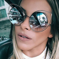 2017 Fashion Cat Eye Sunglasses Women Oversized Luxury Brand Designer Sun Glasses Ladies For Female Big