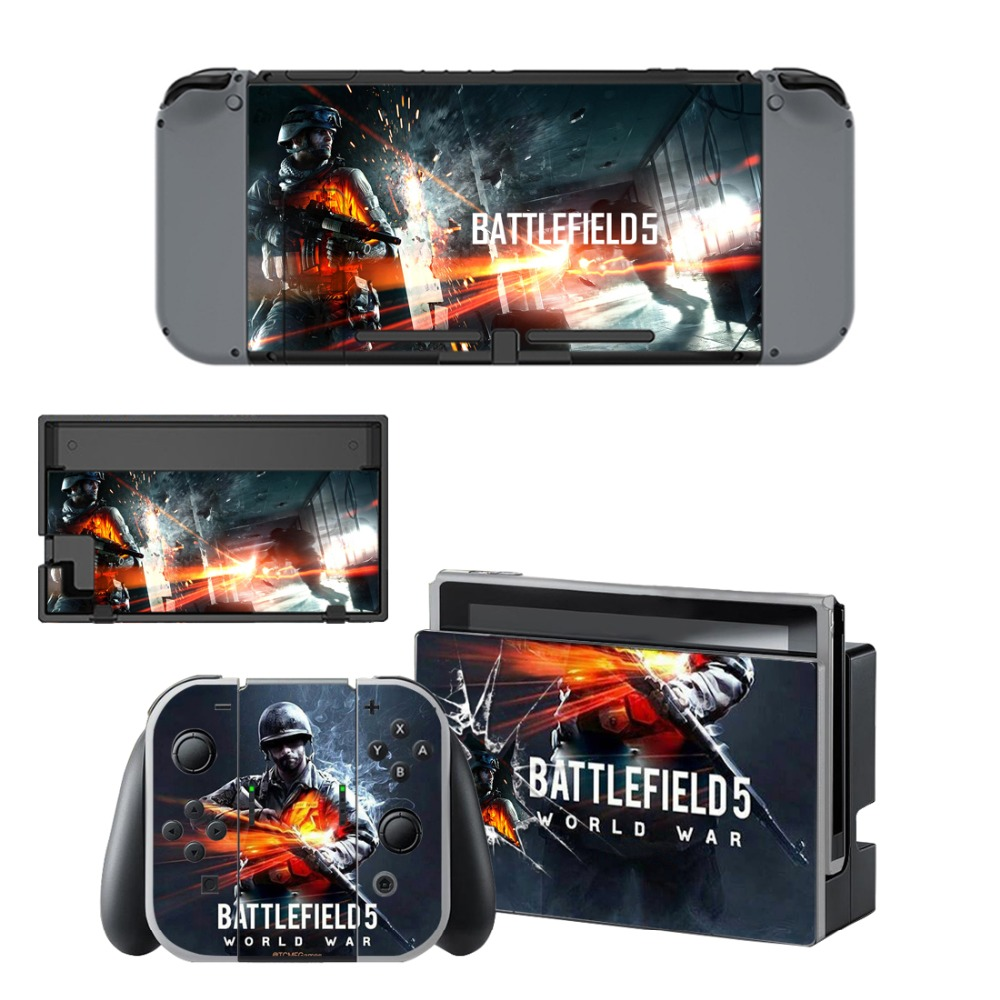 Game Battlefield 5 Decal Vinyl Skin Sticker for Nintendo Switch NS Console + Controller Stand Holder Protective Film