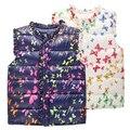 6-Style Otoño e Invierno Dulce Floral Niños Niñas Chaquetas de Algodón Caliente Chaleco de Los Cabritos De La Muchacha Del Chaleco Niños Ropa de prendas de Vestir Exteriores