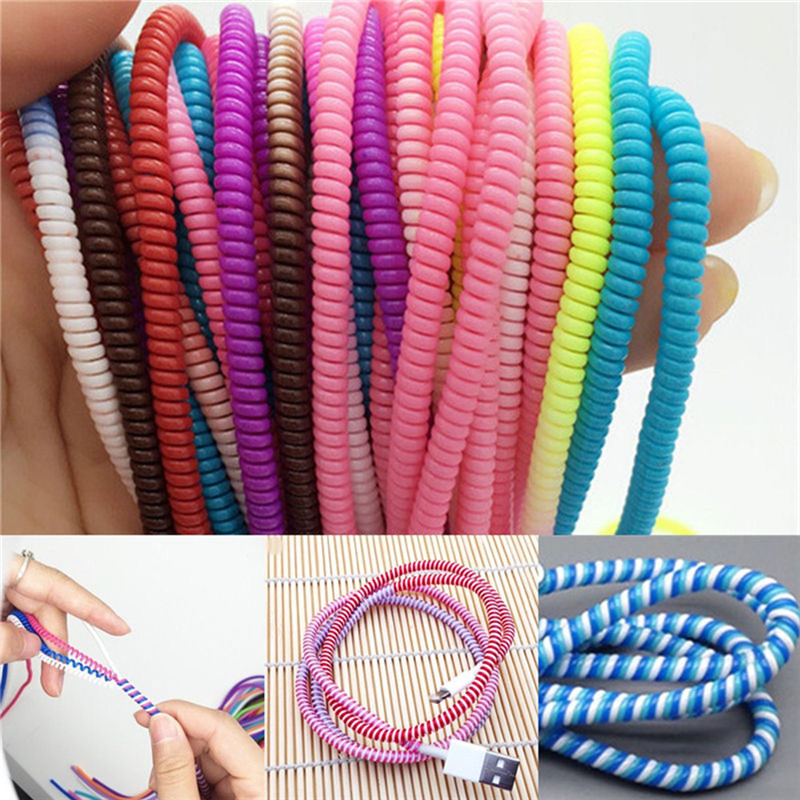 10Pcs/lot Spiral USB Data Charger Cable Cord Protector Wrap CableDIY Winder For iPhone 5 6 6S 7 8 Plus For Samsung HTC 50cm