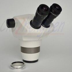 Scientific 4x-50x lornetka Zoom mikroskop stereo głowica do elektroniki + 0 5x obiektyw 220mm długa odległość robocza