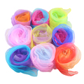 Juggling Scarves Hemmed Square Chiffon Scarf Dance Organza Feel Gradient Scarf 10 pc/lot