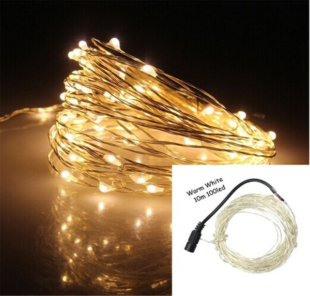 kmashi 4 colors 10m 100 led silver copper wire mini string fairy lights  decoration with approved adapter dc 12v us eu uk au plug