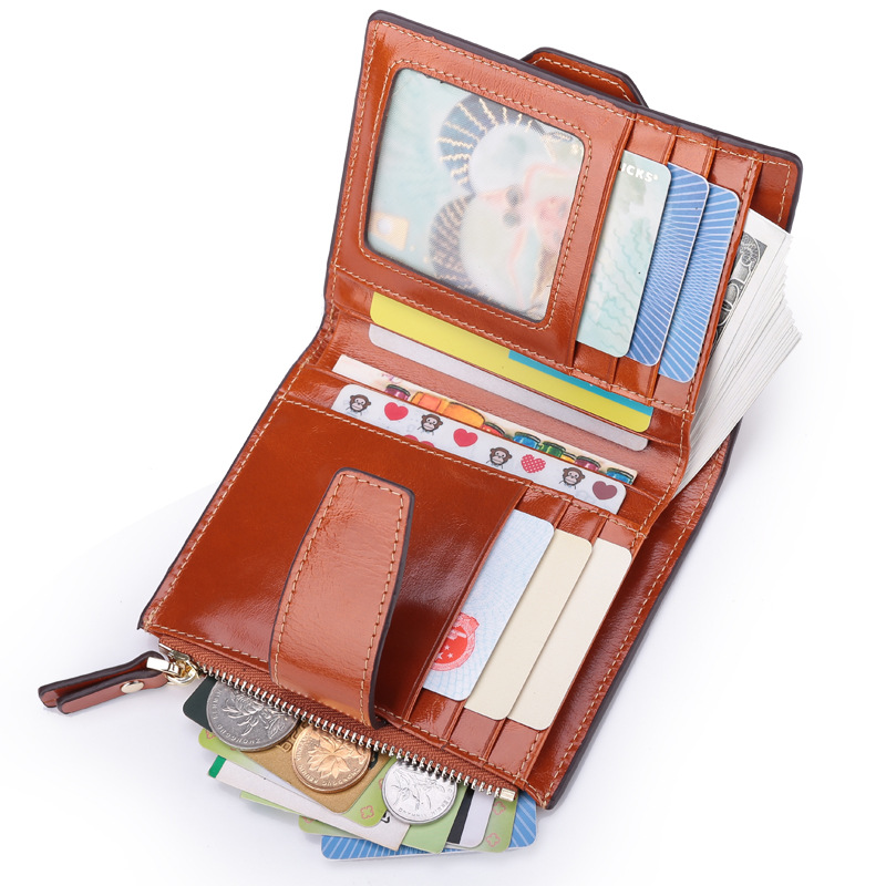 Andralyn Retro Genuine Cow Leather Women Short Wallets Fashion Oil Wax Leather Wallets RFID Ladies Purse Coin Wallet
