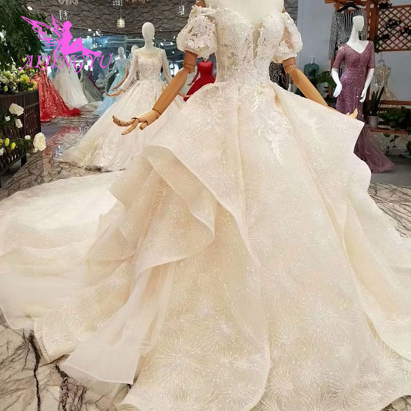 AIJINGYU Wedding Dress Boutiques Gown Material Luxury Ball Spanish Tulle Bridal Collection Wedding Muslim