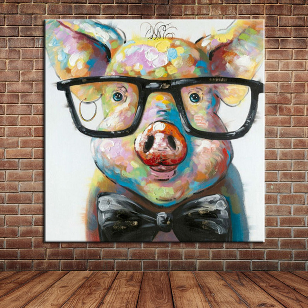 online get cheap funny wall paintings aliexpress com alibaba group modern cartoon animal hand painted oil painting on canvas pig with glasses funny wall painting for home kids room decor no frame