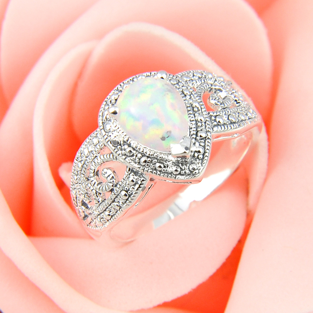 Promotion High Quality White Fire Opal Wedding Rings Russia USA