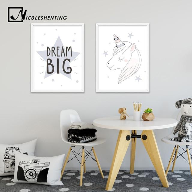 Dream Big Unicorn Cartoon Poster Motivational Wall Art Canvas Prints  Painting Nursery Pictures Kid Bedroom Decoration