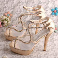 Wedopus G Ladiatorรองเท้าสำหรับผู้หญิงแชมเปญพรหมรองเท้าแพลตฟอร์มDropshipping