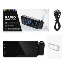 Digital Radio Alarm Clock Projection Snooze Timer Temperature LED Display USB Charge Cable 110 Degree Table Wall FM Radio Clock