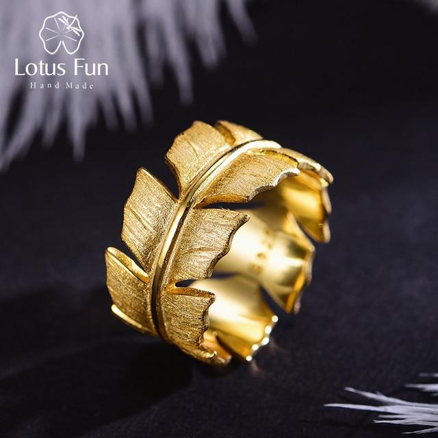 Lotus весело Настоящее серебро 925 проба Натуральный ручной работы дизайнер ювелирных украшений элегантные мягкие кольца с перьями для Для женщин Bijoux