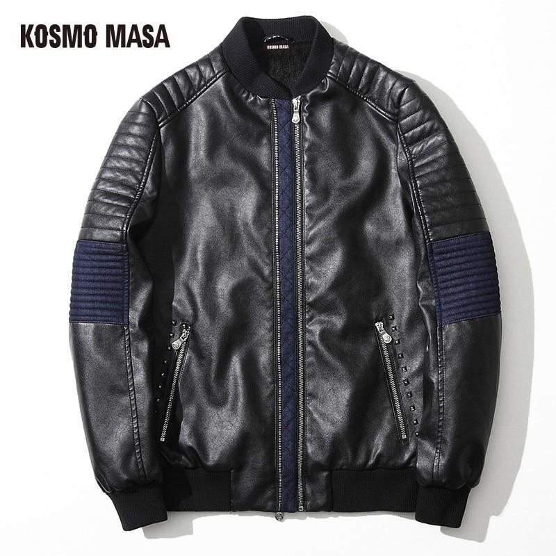 KOSMO MASA 2017 Faux Fur PU Leather Suede Jacket for Men Winter Mens Turkey Motorcycle Bikers Slim Black Fit XXXL Coats MF001