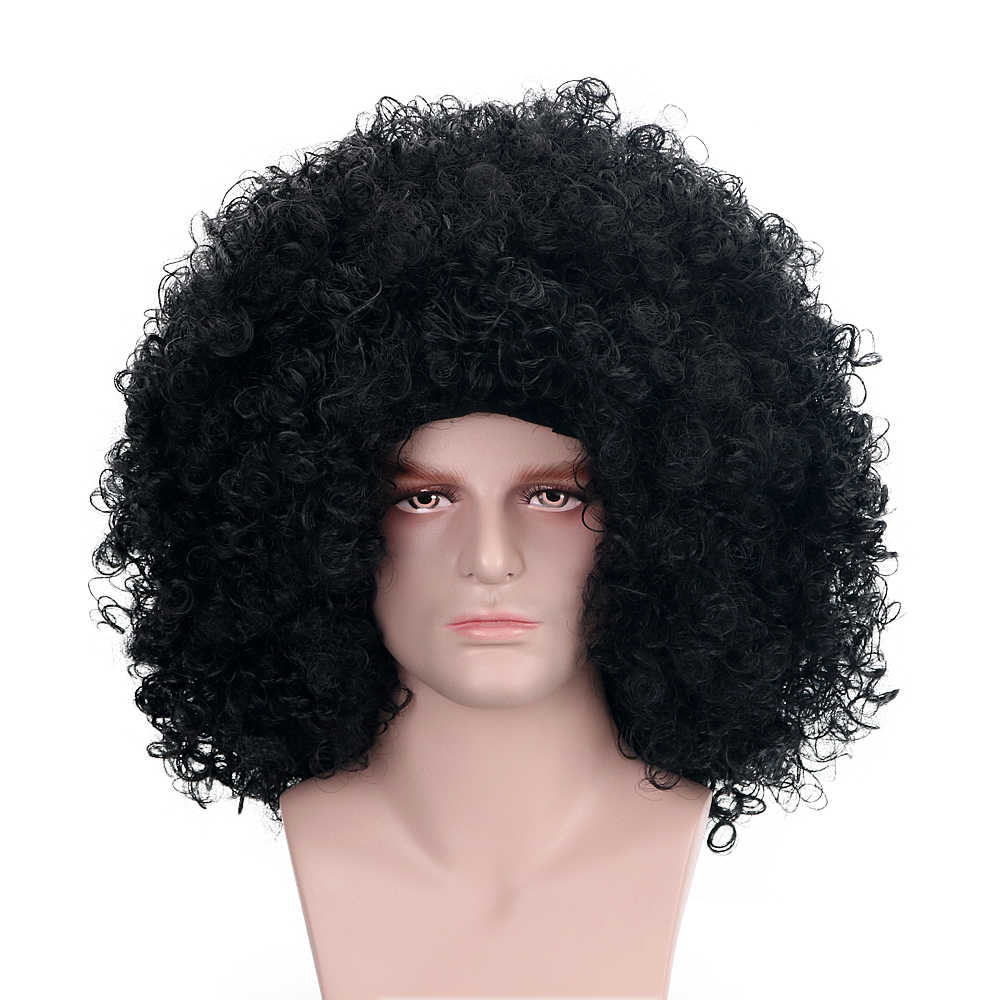 "16""Halloween Clown Afro Wigs Black Explosive Head Synthetic Hair Custom Cosplay Party Funny Wigs For Men Heat Resistant Carnival"
