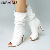 SARAIRIS New Solid Peep Toe Thin High Heels Slip On Shoes Woman Casual Spring Autumn Mid Calf Boots White Plus Size 34 47