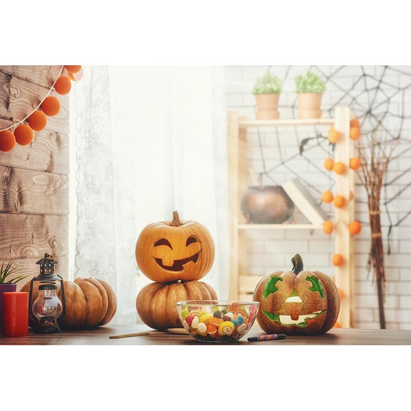Custom Photography Backdrops Props Halloween day Wooden Floor Moon Pumpkin theme Photo Studio Background HA-263 allenjoy background for photo studio full moon spider black cat pumpkin halloween backdrop newborn original design fantasy props