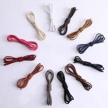 1 пара однотонных вощеных хлопковых круглых шнурков модные классические унисекс Водонепроницаемые кожаные шнурки для обуви 80 см 120 см