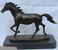 free shipping Classic Copper Bronze Sculpture Mustang Running Horse Art statue base of Marble
