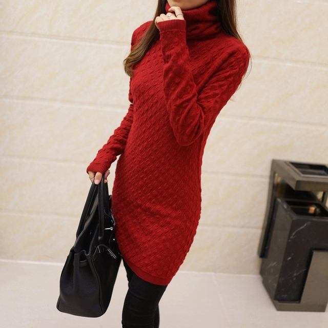 Autumn women's solid color medium-long basic shirt sweater female autumn and winter pullover 2016