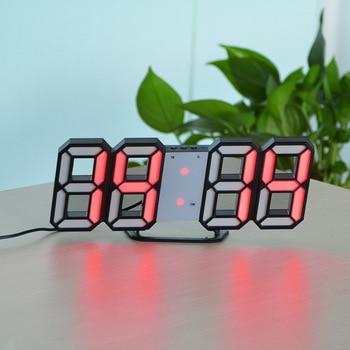 3D USB LED Digital Wall Clock Electronic Desk Table Desktop Alarm Clock 12/24 Hours Display Home Decoration Wake up night lights 11