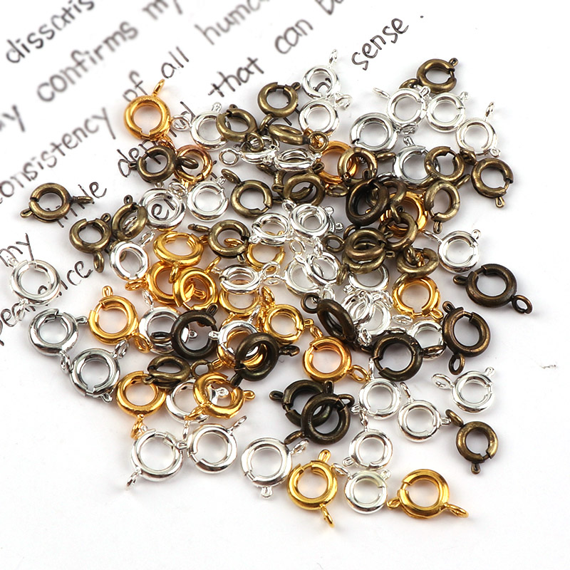 6mm Vintage Metal Round Spring Ring Clasp Buckle Hook DIY Bracelet Necklace Connectors Jewelry Findings6mm Vintage Metal Round Spring Ring Clasp Buckle Hook DIY Bracelet Necklace Connectors Jewelry Findings