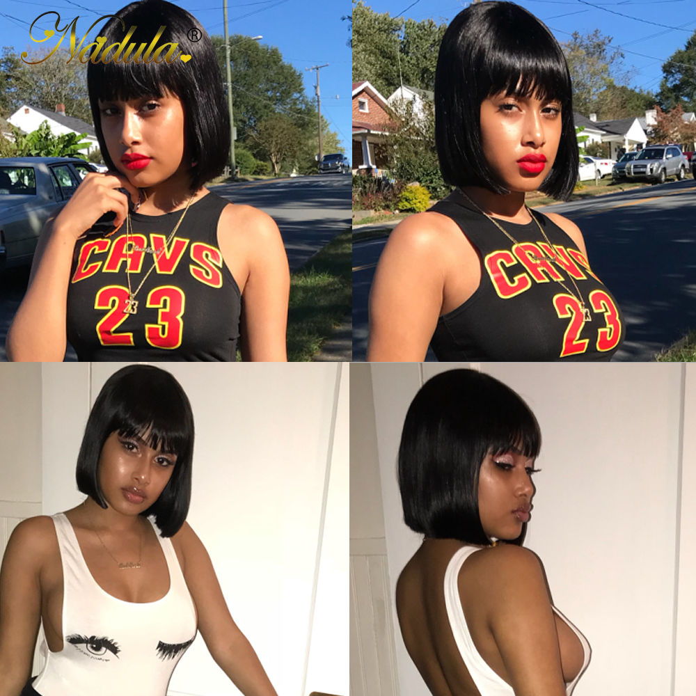 Nadula Hair 13*4 Lace Front Wig Short Human Hair Wig 8-14inch Straight Bob Wig For Women Brazilian Remy Hair Natural Color