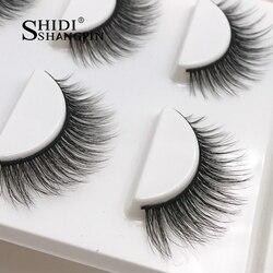 New 3 pairs natural false eyelashes wholesale fake lashes long makeup 3d mink lashes extension eyelash mink eyelashes for beauty