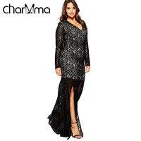 VESTLINDA Sexy Autumn Womens Party Dresses Lace Fashion Long Sleeve Vestidos Feminino High Split Plus Size