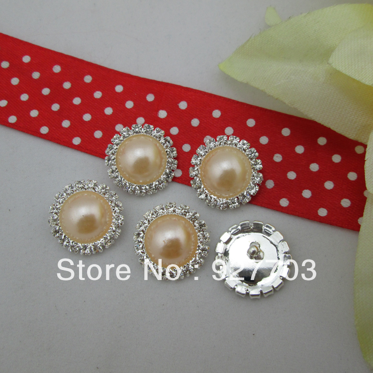 (CM542 17mm)100pcs Round Clear Rhinestone Crystal Champagne Pearl Silver Tone Shank Button Sewing Craft