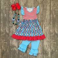 New Arrival Summer Baby Girls Outfits Blue Capris Kids Wear Boutique Cotton Ruffles Children Clothes Striped