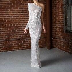Серебряное платье макси с блестками на одно плечо, с разрезом сзади, с одним рукавом, вечернее платье в полоску, с блестками, с открытой спино...