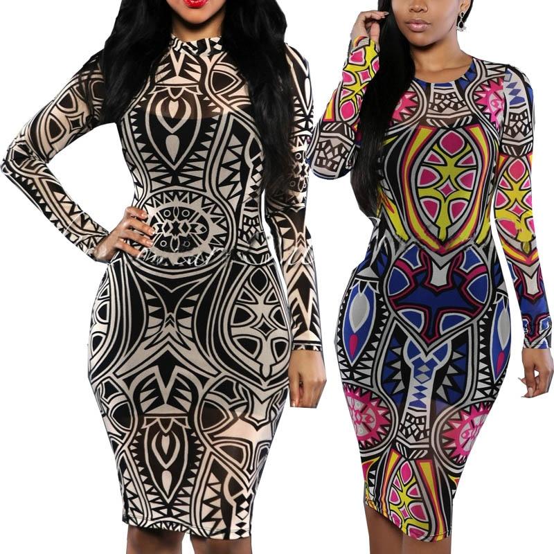 La Robe Femmes XXXL Femmes Multi Impression Tribal Tatouage Moulante Maille Plus Tribal Sexy Taille Couleur vqpw4q15