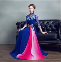 Лидер продаж синий платье Qipao моды антикварной Лето форма китайской вышивкой красный торжественные платья