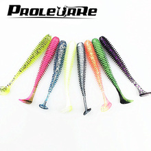 10 Pcs/lot Artificial Paddle Tail 5.7cm 0.85g Soft Grubs Glow in Dark T Tail Lure Jig soft lure for bass Fishing YR-398