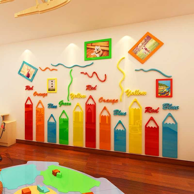 Colored Pencils Cartoon 3d Acrylic Wall Stickers For Kids Room Living Room Kindergarten Frame Decoration Diy Art Wall Decor Acrylic Wall Sticker Wall Sticker3d Acrylic Wall Stickers Aliexpress