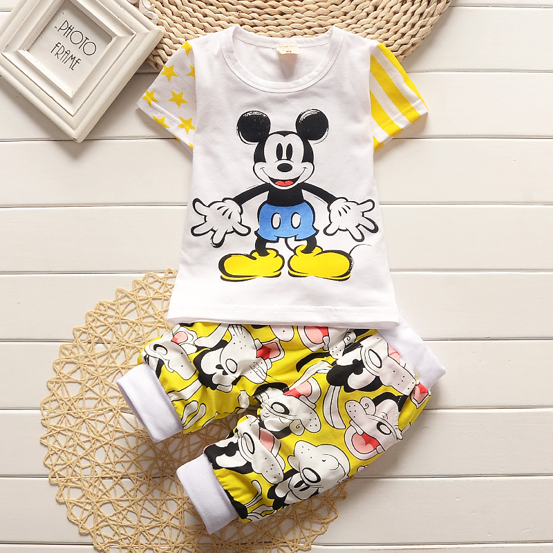 Fashion Cartoon Mickey Star Stripes Short-sleeved Suit Summer Cozy Girl Boy Clothes Baby T-shirt Shorts Children Clothing Set