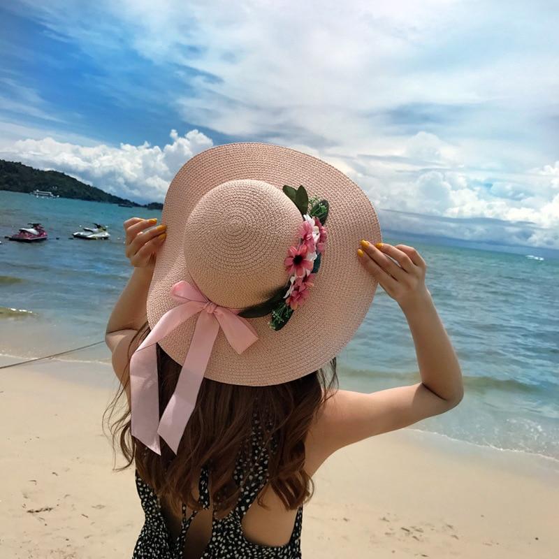 Sommer Handgemachte Häkeln Blume Stroh Hut Uv Schutz Frauen Bogen Sonnenhut Spitze Strand Cap Sonnenhut Mädchen Süße Urlaub Zubehör Kopfbedeckungen Für Damen