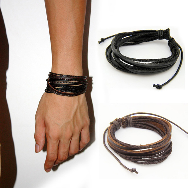 Leather Bracelets Bangles For Men And Women Black Brown Braided Rope Fashion Man Jewelry
