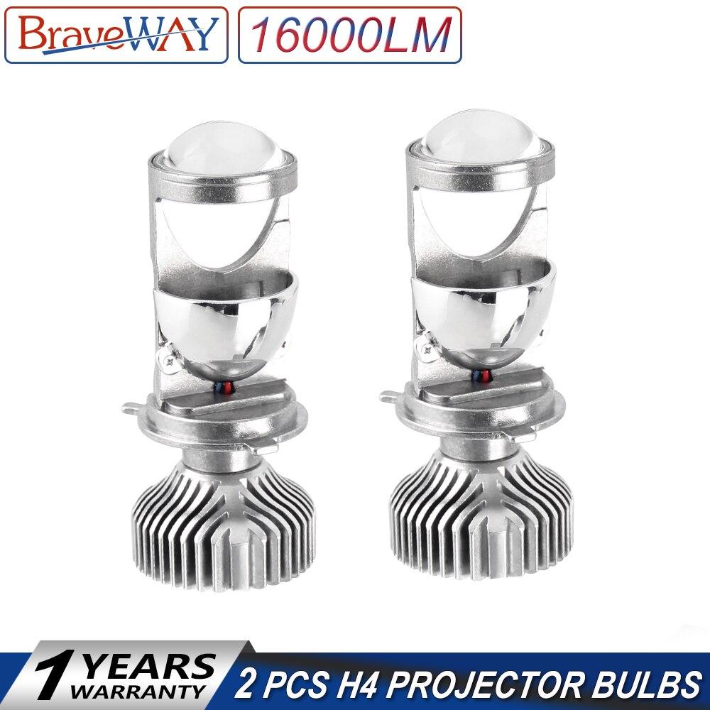 BraveWay H4 LED ampoules de phare de lentille pour voiture sans erreur lampes Atuo 12 V LED CANBUS LED H4 ampoules avec Mini projecteurs 5500 K lumière