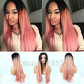 FREE SHIPPING Glueless Long Soft Silky Straight Wig Ombre Natural Black To Pink Color Synthetic Lace Front Wig Heat Resistant