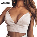 Ahagaga 2017 Tops Mujeres Spring Fashion Solid Camis Bottoming Básico Sexy Profundo Escote en v Partido Strappy Crop Tops Mujeres Tanques de Terciopelo