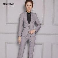 2016 New Female Elegant Pant Suits OL Formal Work Wear Women S Long Sleeve Blazer With