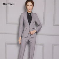 2016 New Female Elegant Pant Suits OL Formal Work Wear Women S Long Sleeve Blazer With