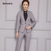 Elegant Trim Work Wear Long Sleeve Blazer with Trousers