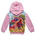 2017 Meninas Primavera Outono Crianças roupas de bebê 4-10 anos dos desenhos animados Casaco de troll Zipper Hoodies Crianças Camisola Fina H466