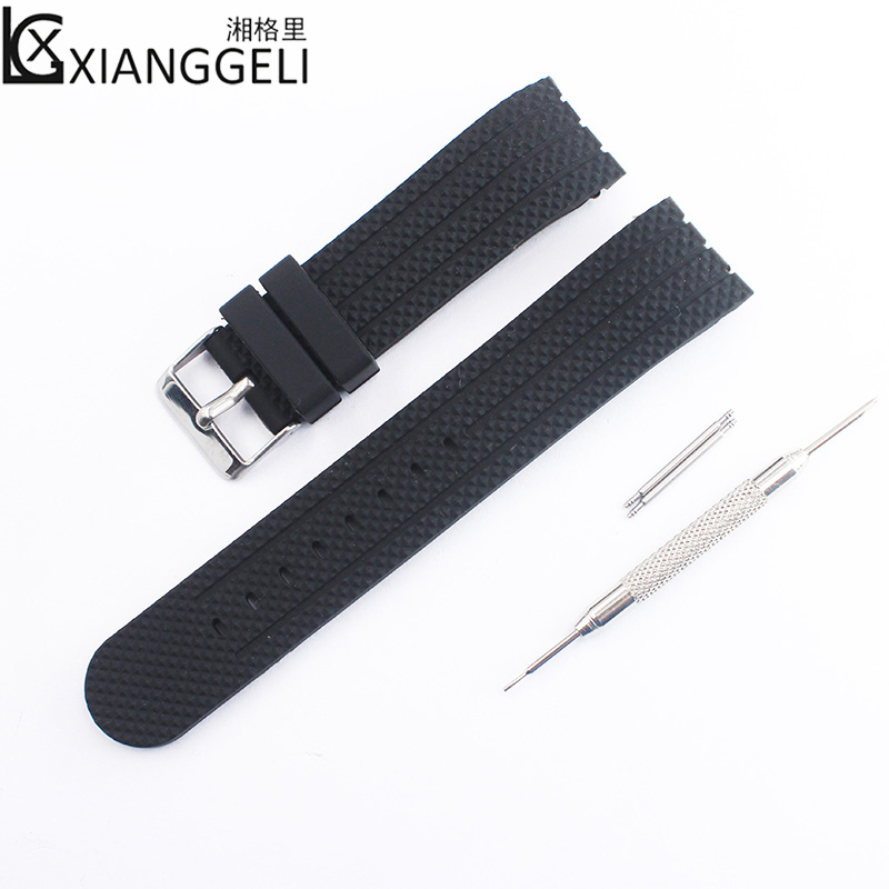 Watch Accessories 22mm Silicone Strap Curved Interface Pin Buckle For All Men's Casual Fashion Sports Brand Watch Band.