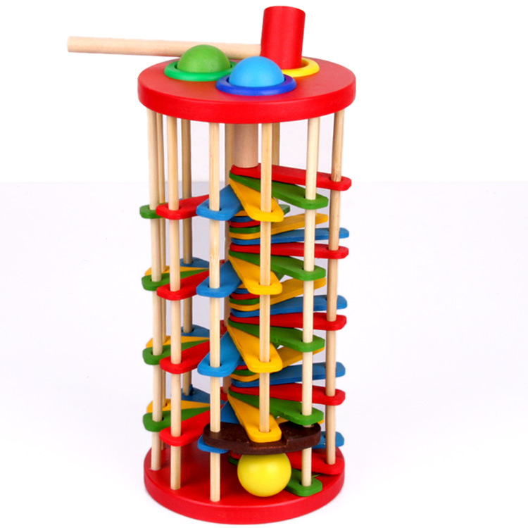 1Pcs Knock Ball The Ladder Deluxe Pound And Roll Tower Creativity Developing Wooden Toy Child Multifunction Educational Toy Gift 2017 montessori education baby wood knocking ball ladder pound and roll tower kids puzzle early educational wooden toys set mz23