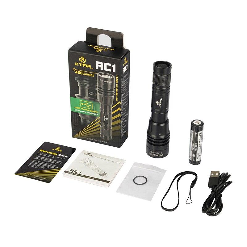 XTAR RC1 450LM Darkwalker 18650 Аккумуляторная Открытый Туризм Отдых СВЕТОДИОДНЫЙ Фонарик USB Аккумуляторная Тактического Фонаря