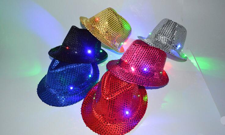 무료 배송 할로윈과 크리스마스 파티 힙합에 대한 참신 깜박 LED 모자 재즈 무대 표시 모자