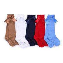 Pettigirl bebê meninas criança meias fita arco algodão macio meia meninas meias feitas à mão infantil da criança princesa adorável meias de joelho 1 6y