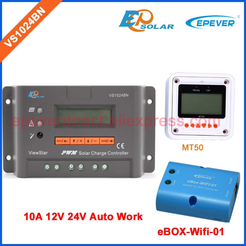 pwm lcd display controller 12v solar charger VS1024BN EPsolar brand ViewStar 10A 10amp MT50 meter and wifi BOX for APP connect with white color mt50 remote meter epsolar pwm solar battery charger controller bluetooth function usb cable ls2024b 20a